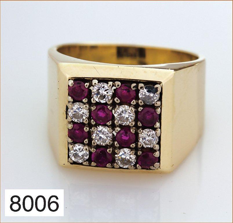 Schwerer Ring GG 585/000, gesamt 9 g, je 8 Brillanten,