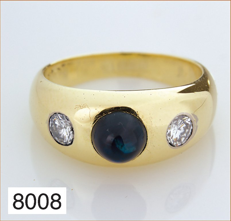 Massiver Ring, GG 585/000, gesamt 9,2 g, 2 Brillanten w