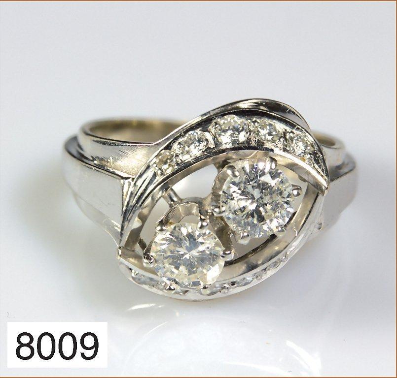Ring WG 585/000, 2 Brillanten, weiß, SI/P1,gesamt ca. 0