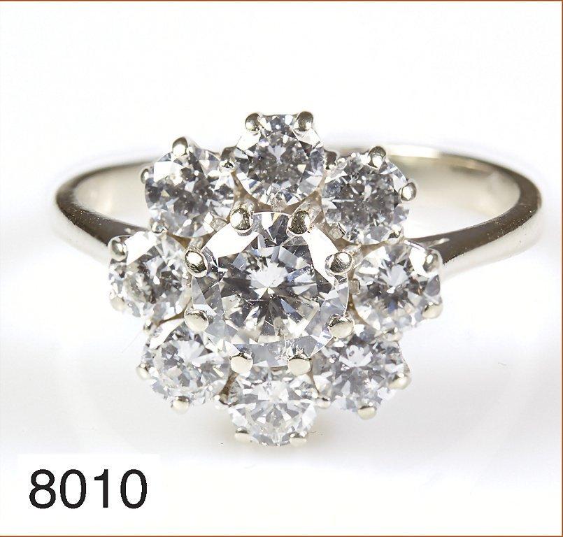 Klassischer Brillantring, WG 750/000, 1 Brillant ca. 0,