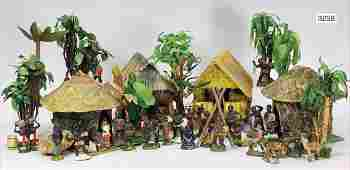 Dekorative Eingeborenen Szene, Massefiguren 7 cm, ca. 3