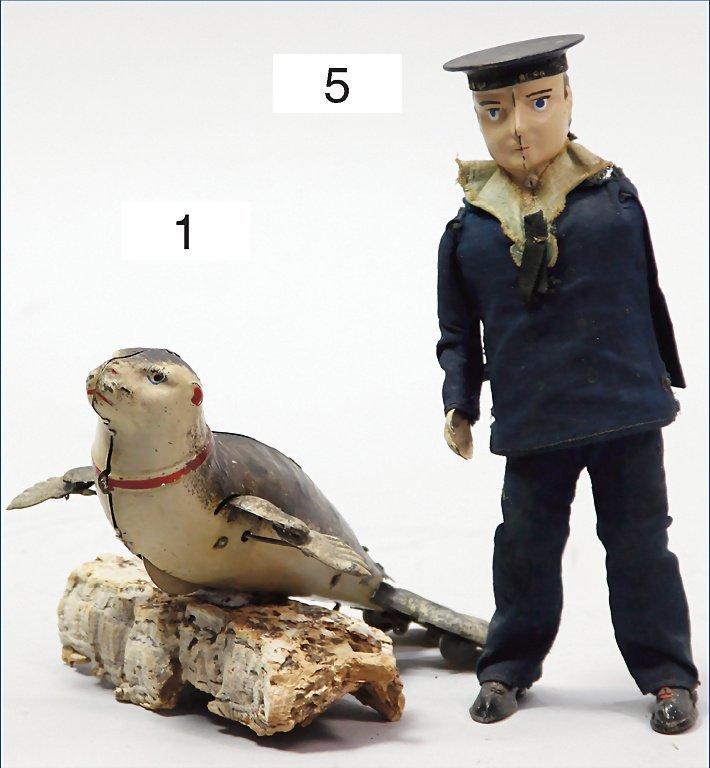 LEHMANN, seal, tin, 19.5 cm, clock mechanism is intact,