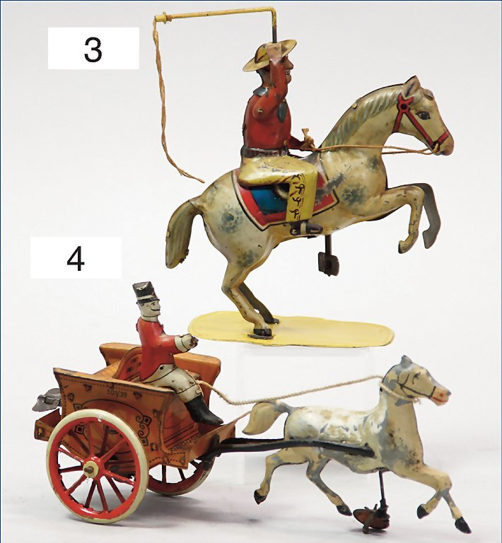 rider with lasso, lithographed tin, German, pre-war