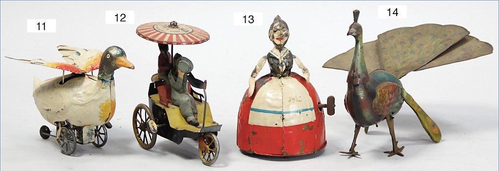 GÜNTHERMANN, flying duck, handpainted tin, clock
