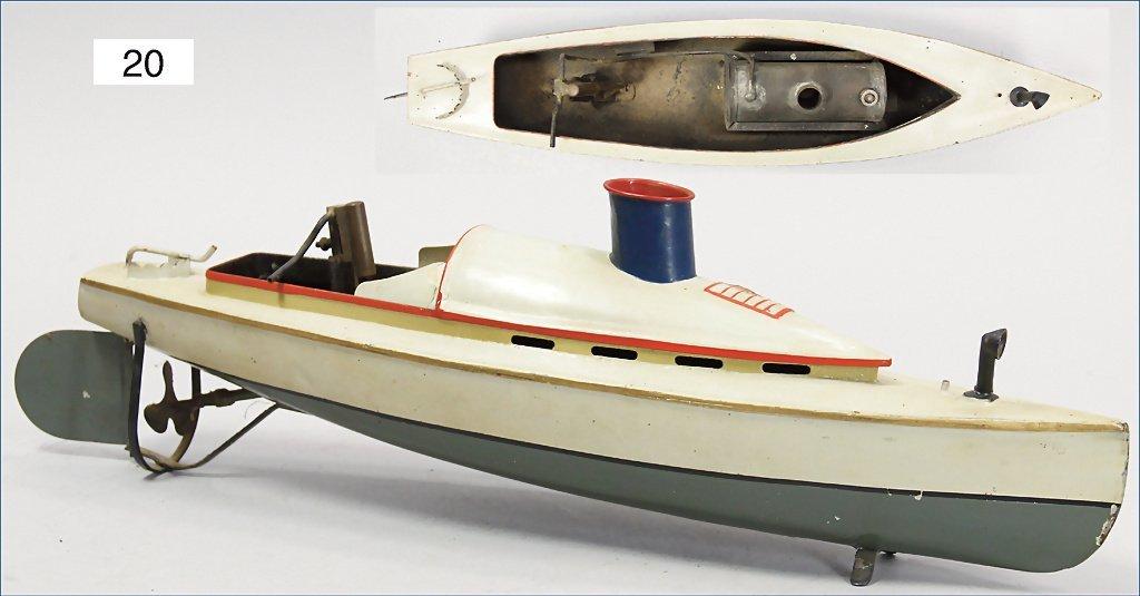 steamship, 49 cm, handpainted tin, steam engine for