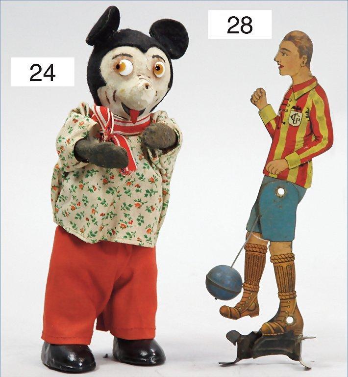 Mickey Mouse, papier mâché, felt clothes, porcelain