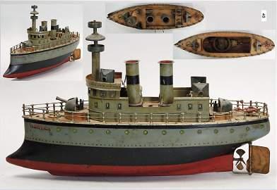 MÄRKLIN, Herta, battleship, handpainted tin, c. 1910,