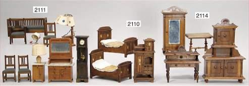 dollhouse bedroom furnitures, art nouveau, 2 beds, 15.5