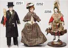 small Biedermeier dollhouse doll, 14.5 cm, enameled