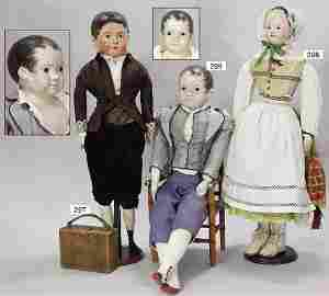 MÜLLER, early papier mâché shoulder headed doll, man,