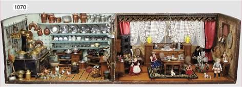 2-part manorial dollhouse, kitchen, living room, 51 cm