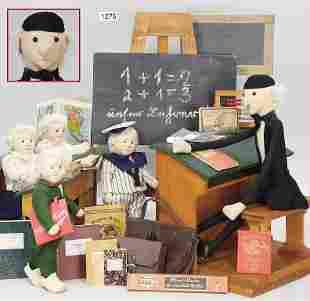 STEIFF, school, teacher, height 42 cm, all with button,