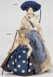 very nice early papier mâché shoulder headed doll, 16