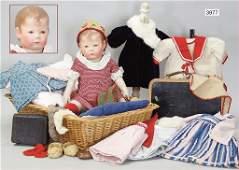 KÄTHE KRUSE, doll No. 1, 40 cm, fabric head, 3 seams at