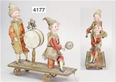 ZINNER pull game, 2 biscuit porcelain socket head doll,