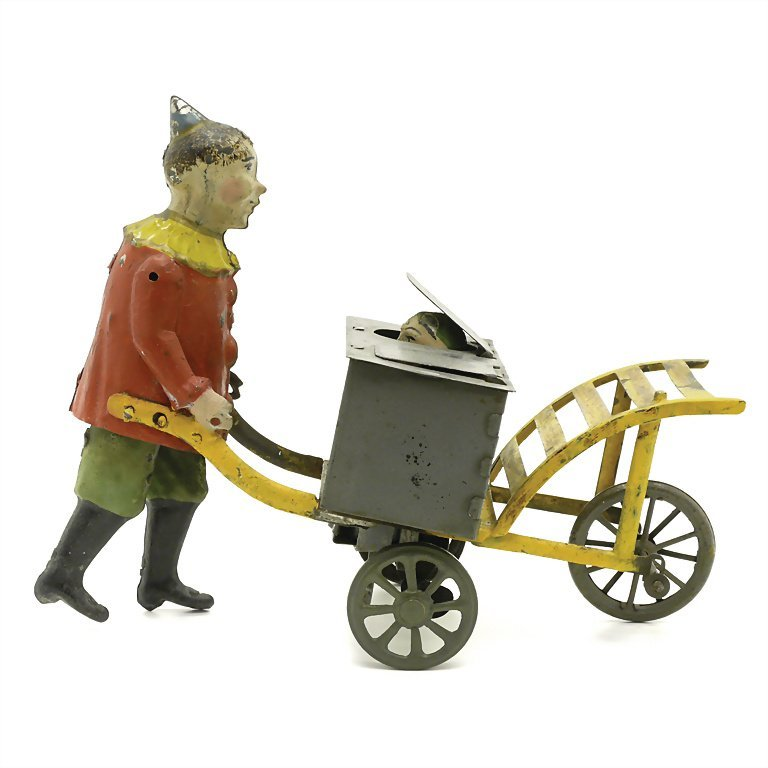 Eberl, Hans clown with pushcart and box on it, sheet