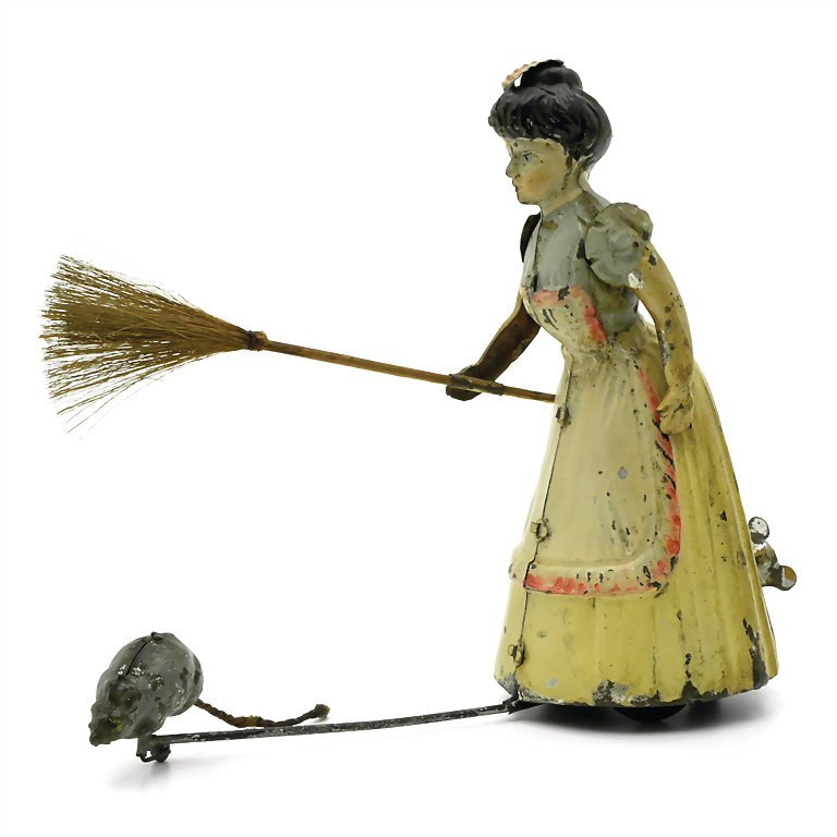 Bing, Gebr. maid with brush and mouse, sheet metal,