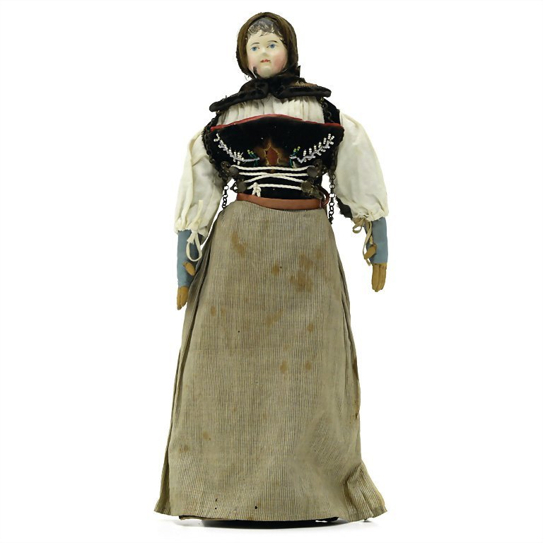doll with traditional costume, papier mâché, around