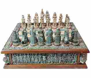 Schachspiel Mexico Onyx, Spielbrett mit Figuren,
