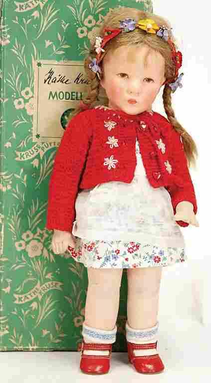 K�THE KRUSE doll No. 1X, girl, 36 cm, fabric head,