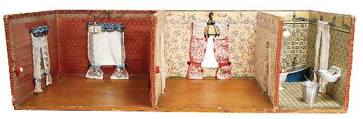dollhouse case, 3 rooms, around 1900, 88 x 37 x 26 cm,