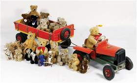 STEIFF Traktor, Blech, 21 cm, dazu Wagen, Holz, 29 cm,