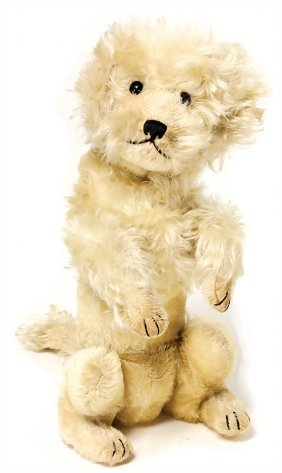 Steiff Poodle, Produced 1929, With Button And Red Cloth