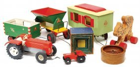 Treasure Chest, Wooden Toys, Train, Tractor, Site