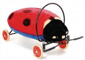 Steiff Ladybird, On Wheels, '50s/'60s, 53 Cm, Worn,