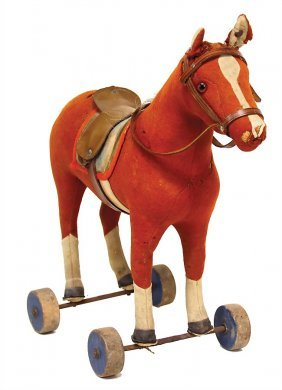 Steiff Horse On Wooden Wheels, Felt, C. 1900, With