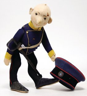 Steiff Figure Made Of Felt, Caricature, Soldier With