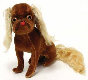 Dog, Velvet, Probably '20s, 20 Cm, Swivel Head, Felt,