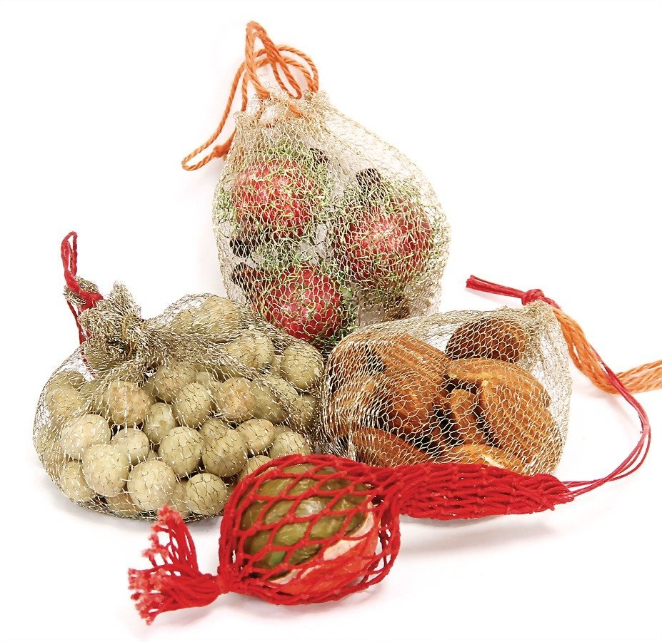 Christmas tree decoration, 4 nets with fruits, nut,