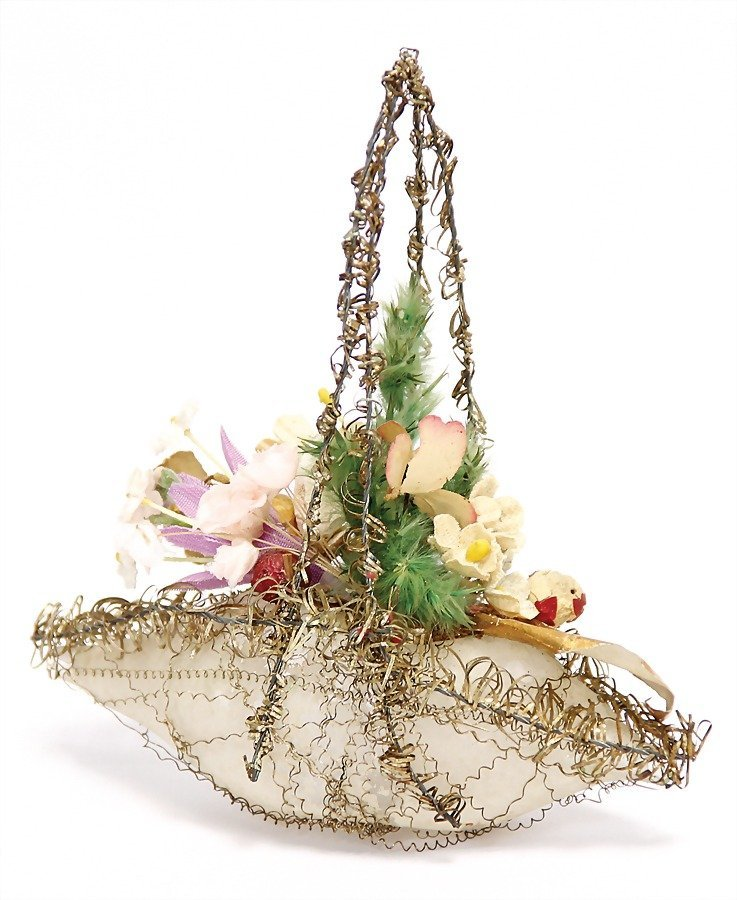 SEBNITZ flower basket, glass, leonic wires, 11 cm