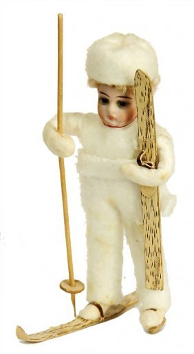 Christmas Tree Decoration, Cotton Wool, Child On Ski,