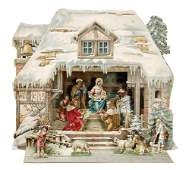 """wintry crib in snow, height 40.5 cm, writing:""""Ehre"""