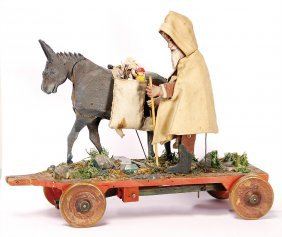 Santa Claus With Donkey, Pull Game, Wood, 25 Cm
