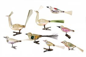 Christmas Tree Decoration, 7 Pieces, Birds With Clamps,