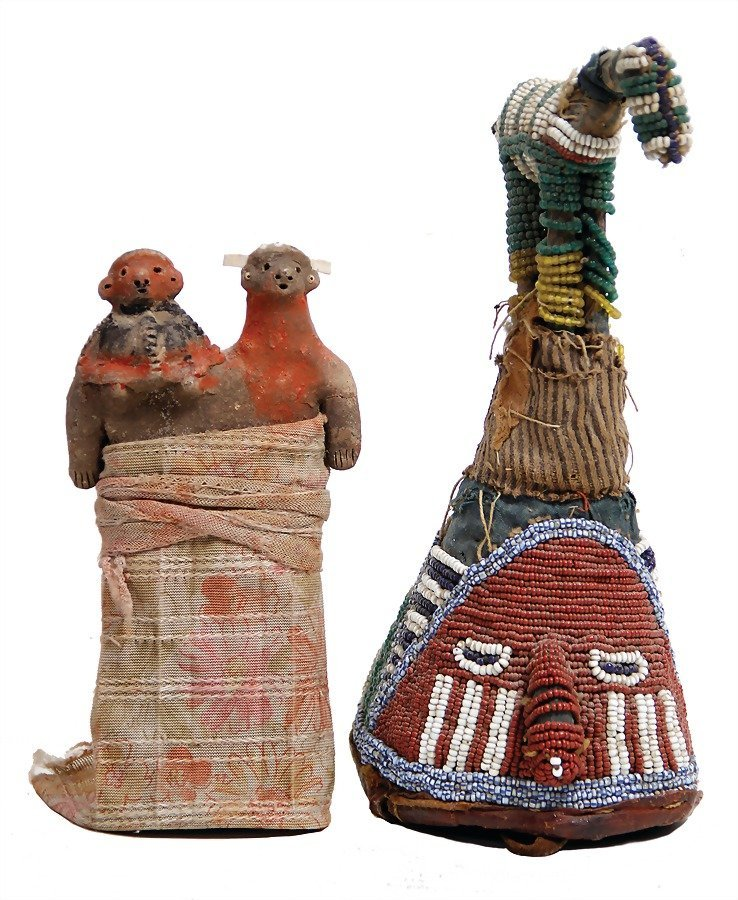 2 pieces, 1 clay figure, with fabric wraped up, 1 small