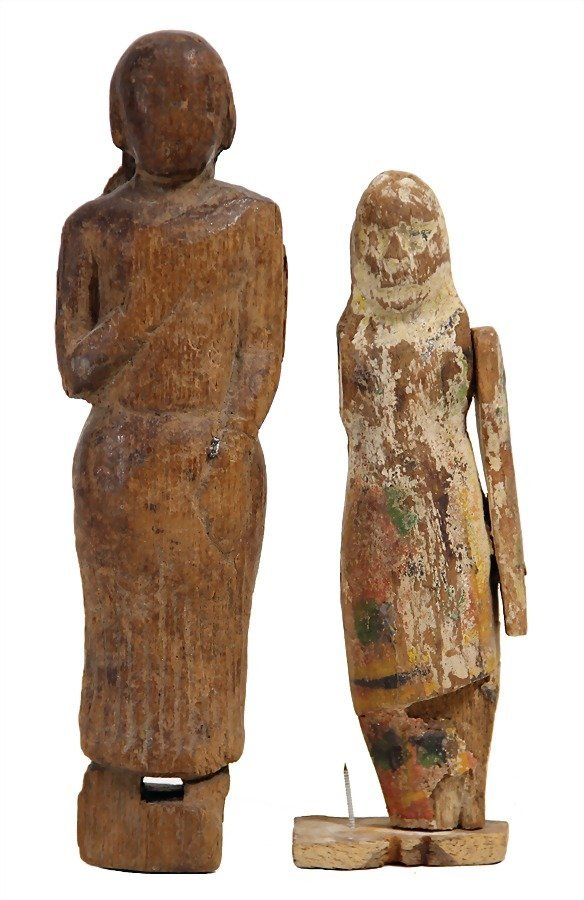 2 pieces, wooden figures, carved, 1 x partially