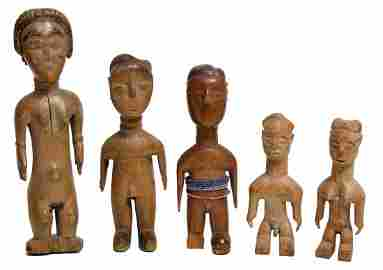 5 pieces, Kulamg Afante Akan figures, Ghana, 15 - 26
