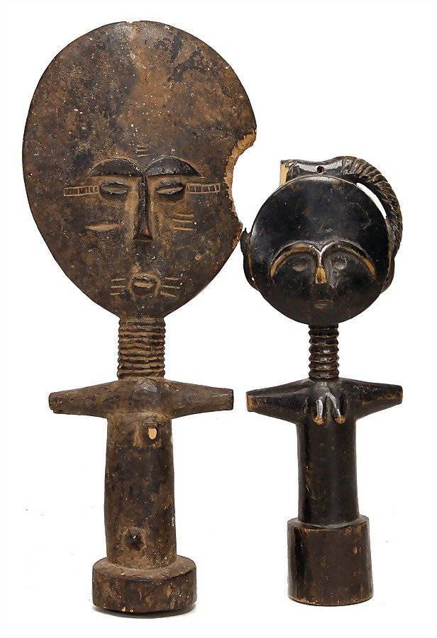 2 pieces, Fante figure, Ghana, carved wood, 1 part is