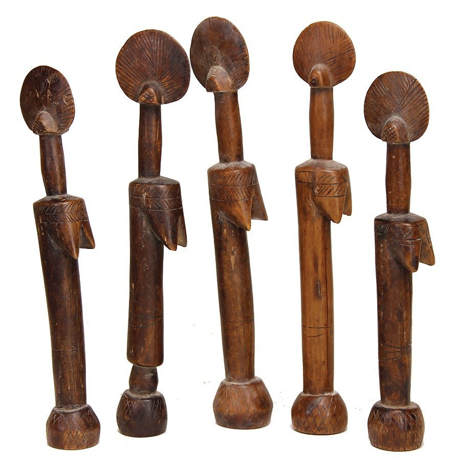 5 pieces Mossi figures, carved wood, c. 26 cm   German