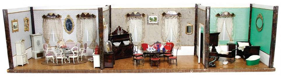BIEDERMEIER 3-part dollhouse room, c. 1870, 1.45 m