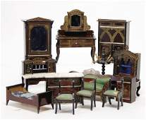 13 pieces dollhouse furniture, Boulle, cupboards, sofa,