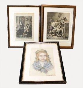 3 Gerahmte Bilder, 1 Kreidezeichnung Von Rosemarie