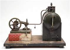 Dampfmaschine, Blech, auf Holzsockel montiert,