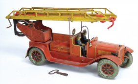 Karl Bub Feuerwehr, Blech Lithogr., 47 Cm, 3 Figuren,