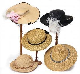 5 Damenhüte, Untersch. Alter, Teilw.