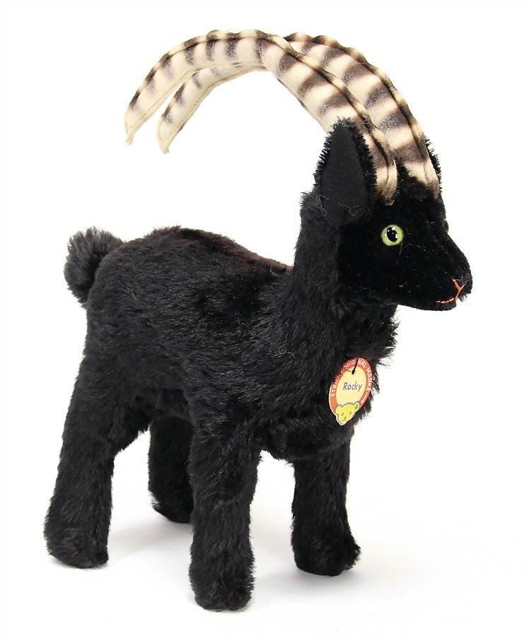 STEIFF Rocky, ibex, with button, chest label and cloth